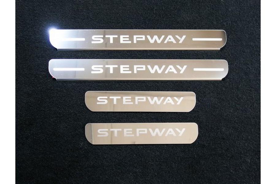Накладки на пороги (лист зеркальный надпись Stepway) 4шт