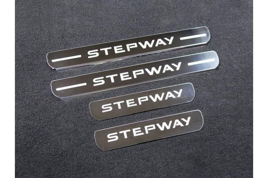 Накладки на пороги (лист шлифованный надпись Stepway) 4шт