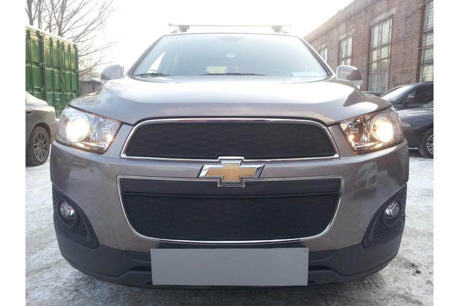 Защита радиатора Chevrolet Captiva 2013- рестайлинг (2 части) black