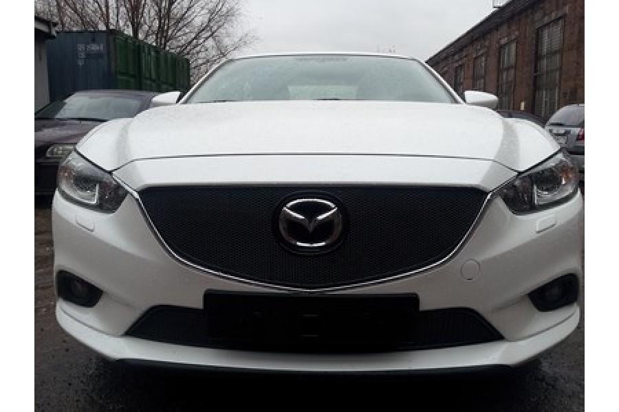 Защита радиатора Mazda CX7 2009-2013 black верх PREMIUM
