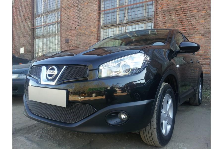 Защита радиатора Nissan Qashqai 2011-2014 (2 части) black верх PREMIUM
