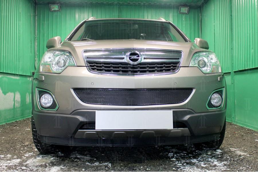 Защита радиатора Opel Antara I (рестайлинг) 2010- black середина PREMIUM
