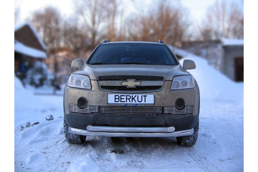 Защита передняя двойная d76/d60 (скосы) Chevrolet Captiva 2006-2011