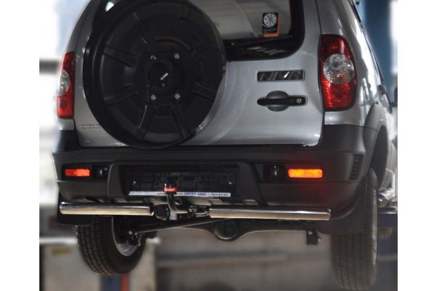 "Защита задняя с разрезом под фаркоп ""Bosal"" d60 (скосы) Chevrolet-Niva 2009-"