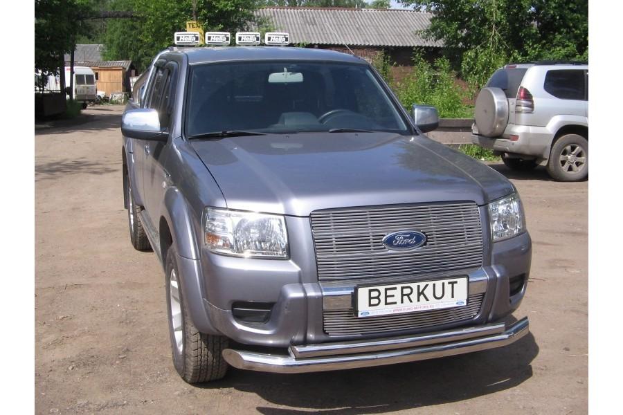 Защита передняя двойная d76/d60 (скосы) Ford Ranger II 2009-2011