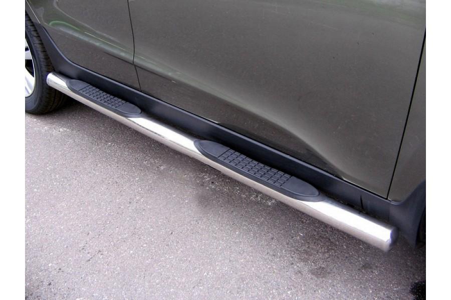 Пороги d76 (труба с проступями) Hyundai Santa Fe II 2006-2010