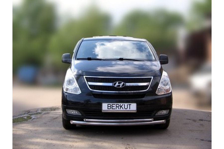 Защита передняя одинарная (скосы) d60 Hyundai H-1 (Grand Starex) 2007-