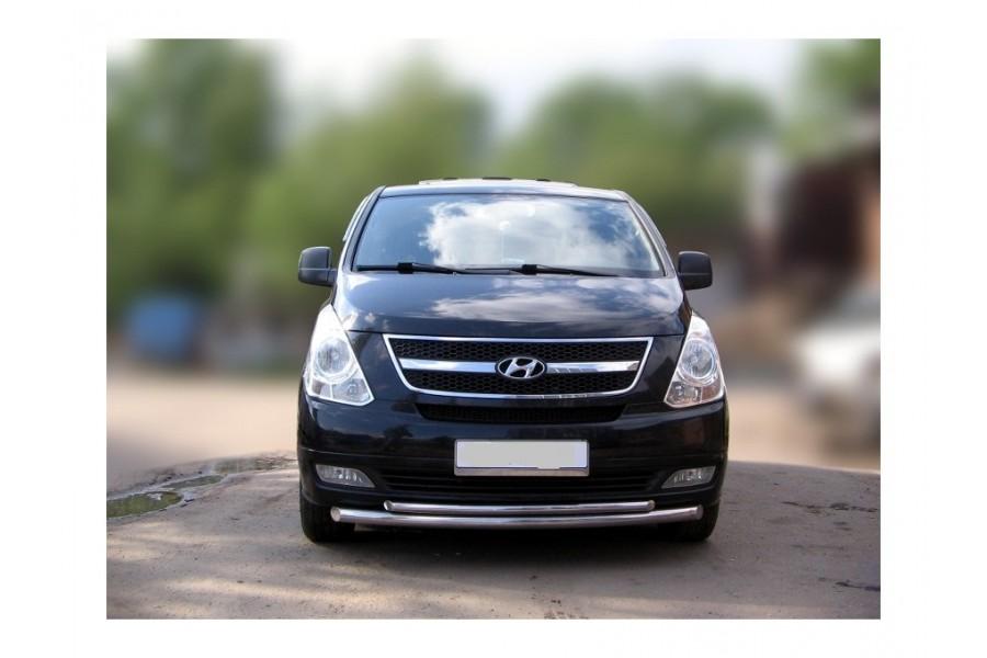 Защита передняя двойная d60/d42 (скосы) Hyundai H-1 (Grand Starex) 2007-