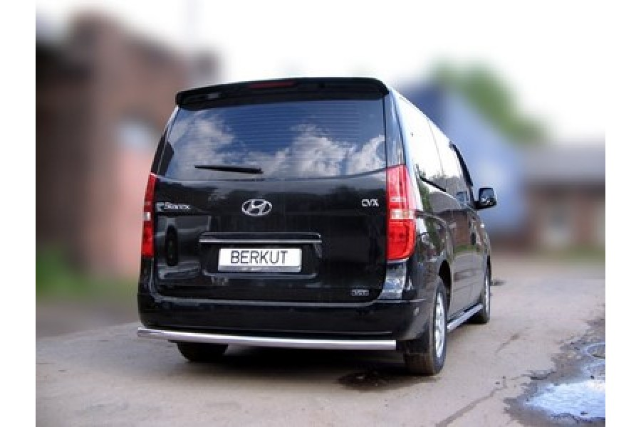 Защита задняя одинарная d60 (скосы) Hyundai H-1 (Grand Starex) 2007-