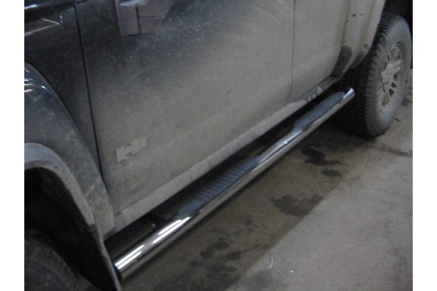 Пороги d76 (труба с проступями) Hummer H3 2005-2010