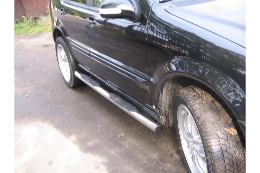 Пороги d76 (труба с проступями) Mercedes-Benz M-Klasse W163 1998-2005
