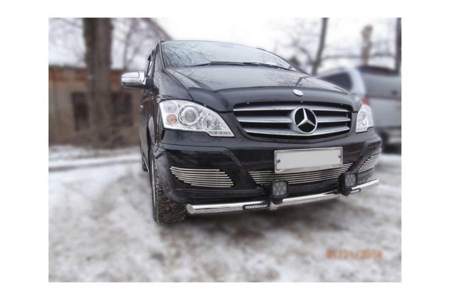 Защита передняя одинарная d60 с ДХО   (скосы) Mercedes-Benz Viano W639 2010-2013