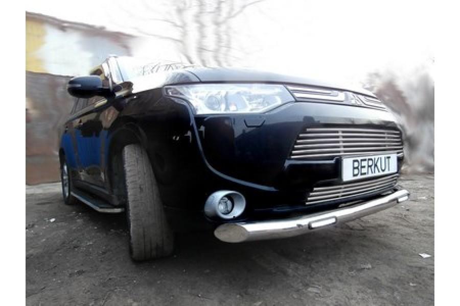 Защита задняя одинарная d60 (скосы)   Mitsubishi Outlander 2012-