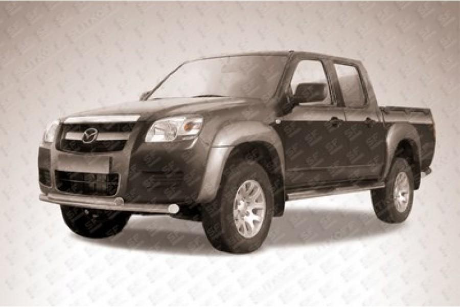Защита передняя двойная d76/60 (скосы) с ДХО Mazda BT-50 (J97M) Double Cab 2008-2011