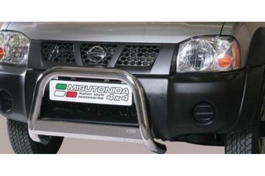 Защита передняя двойная d76/60 (скосы) с дневными ходовыми огнями  Nissan NP-300 (D22) 2008-