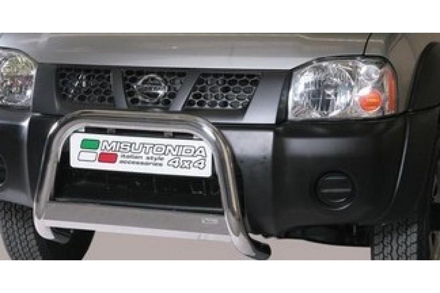 Защита передняя одинарная d76  с дневными ходовыми огнями Nissan NP-300 (D22) 2008-