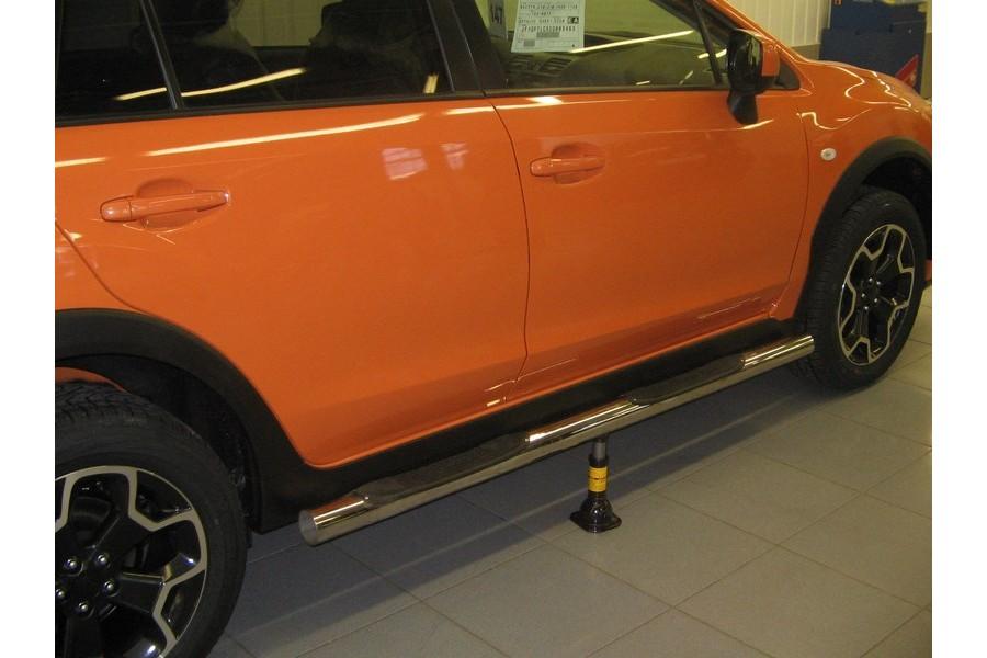 Пороги d76 (труба с проступями) Subaru XV 2011-