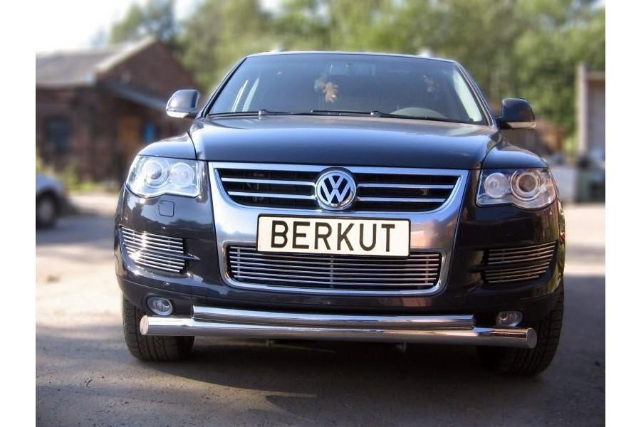 Защита передняя двойная d76/60 (скосы) (AL Sheriff) Volkswagen Touareg 2007-2009