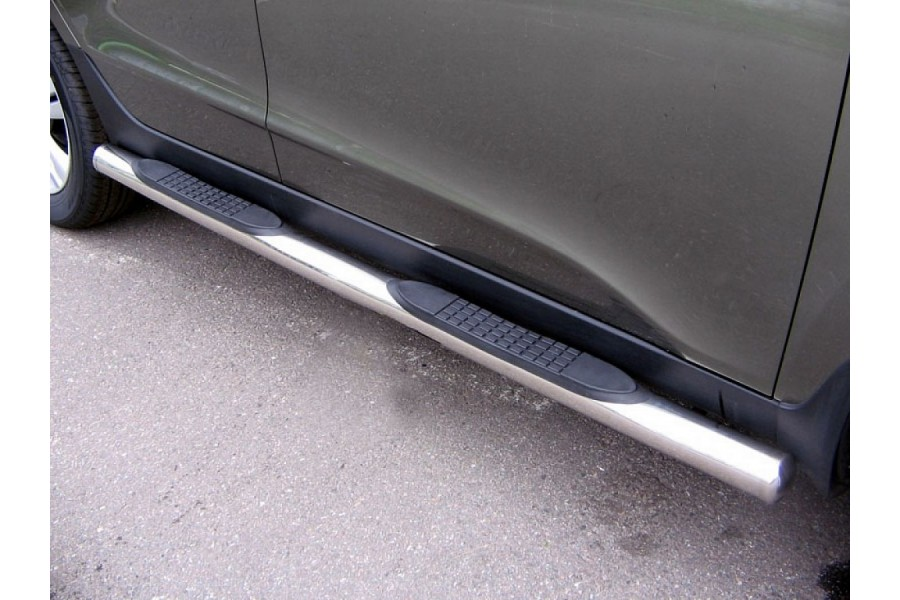 Пороги d76 (труба с проступями) Volvo XC90 2007-2009