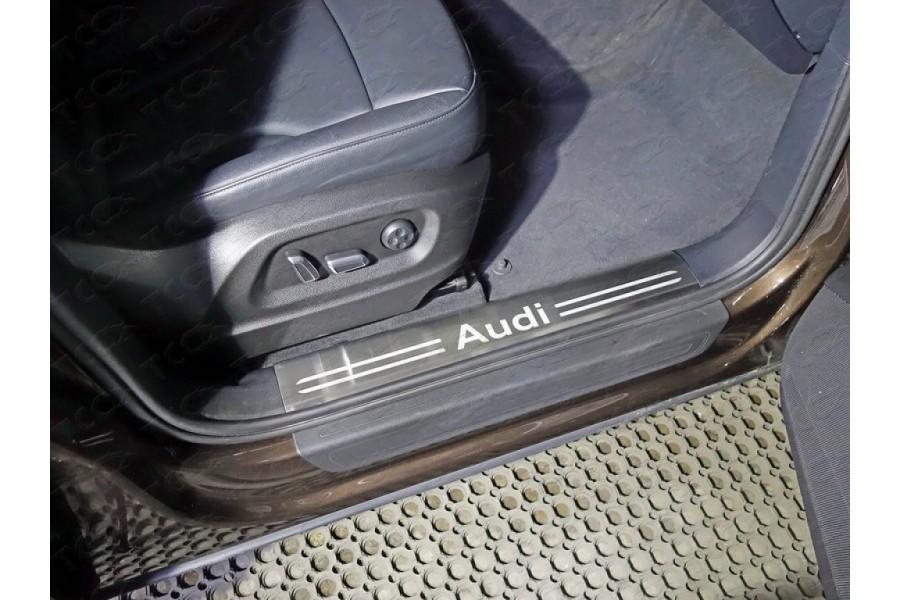 Накладки на пластиковые пороги (лист шлифованный надпись audi)