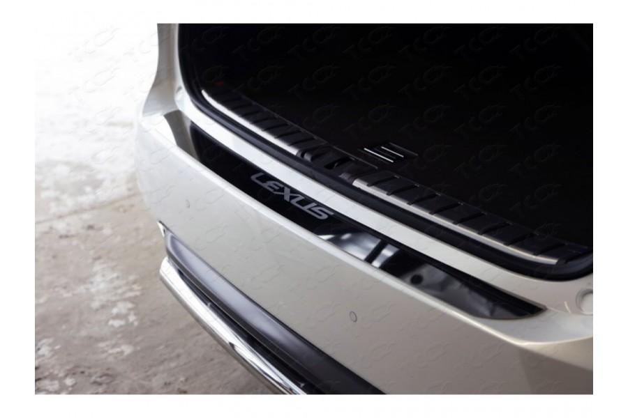 Накладка на задний бампер (лист зеркальный надпись Lexus)