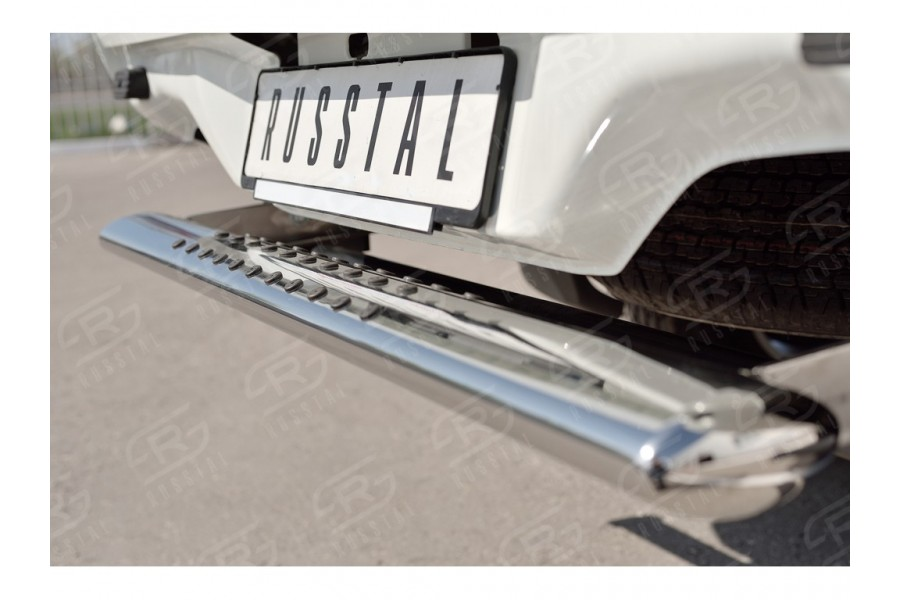 Защита заднего бампера 120х60 с проступью