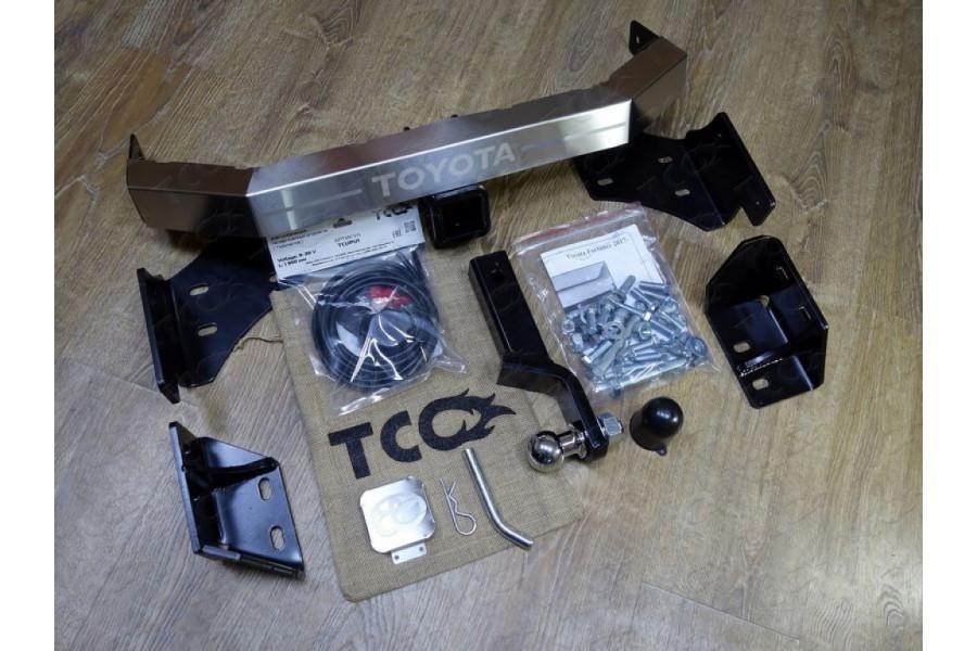 Фаркоп (оцинкованый,надпись Toyota,шар из нерж.стали) 100/1500кг (Крюк съёмный/Тип шара E) TRD
