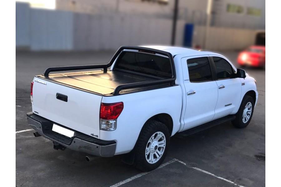 Дуга в кузов одинарная d-76, сталь, окрашенная порошковой краской, цвет-черный (для Toyota Tundra Double Cab Long) возможна установка с крышкой кузова Backflip-2