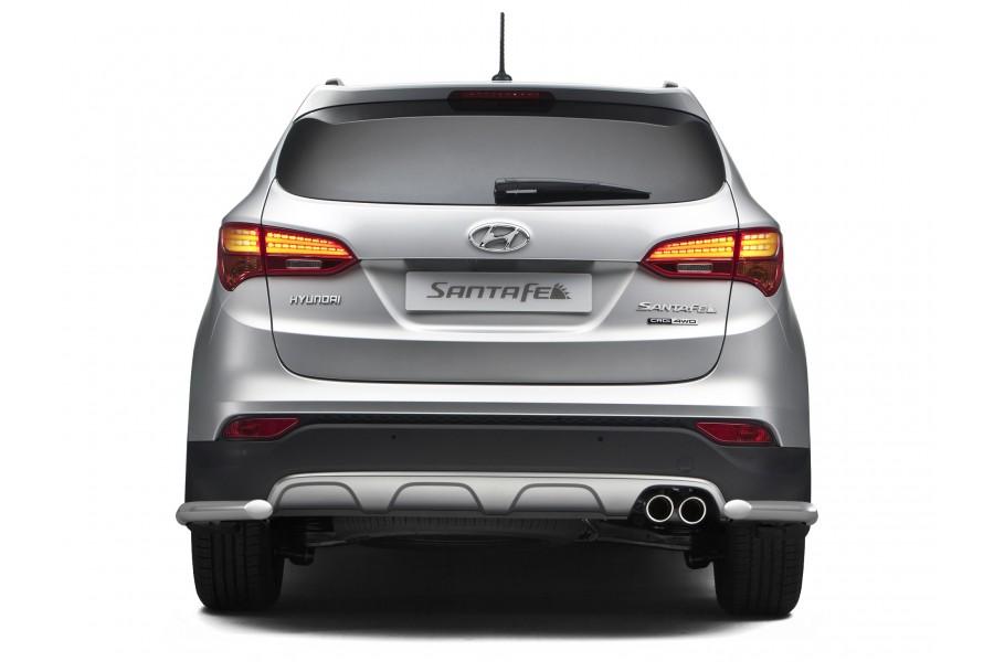 Защита заднего бампера угловая Ø51мм (НПС) Hyundai Santa Fe 2013-2015