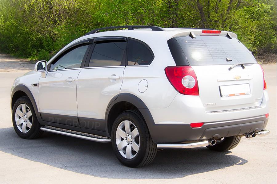 Защита заднего бампера угловая Ø63мм (НПС) Chevrolet Captiva 2011-2013