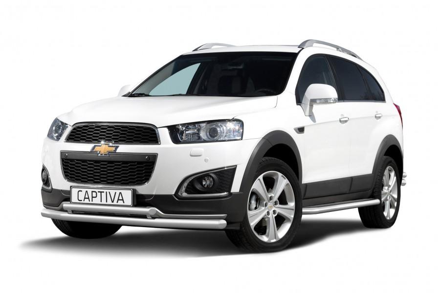 Защита переднего бампера двойная Ø63/51мм (НПС) Chevrolet Captiva 2013-
