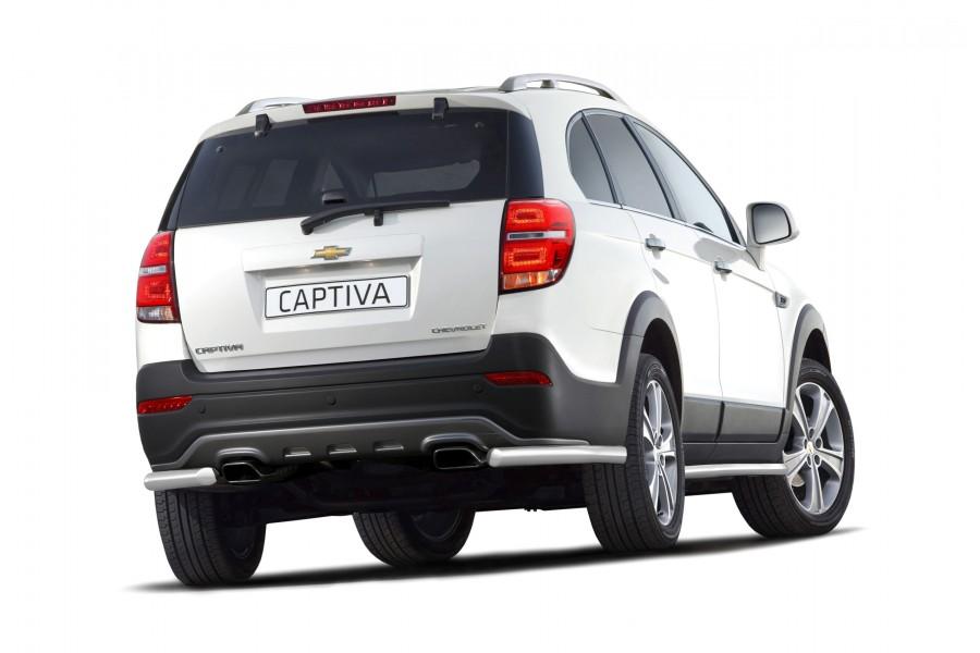 Защита заднего бампера угловая Ø63мм (НПС) Chevrolet Captiva 2013-