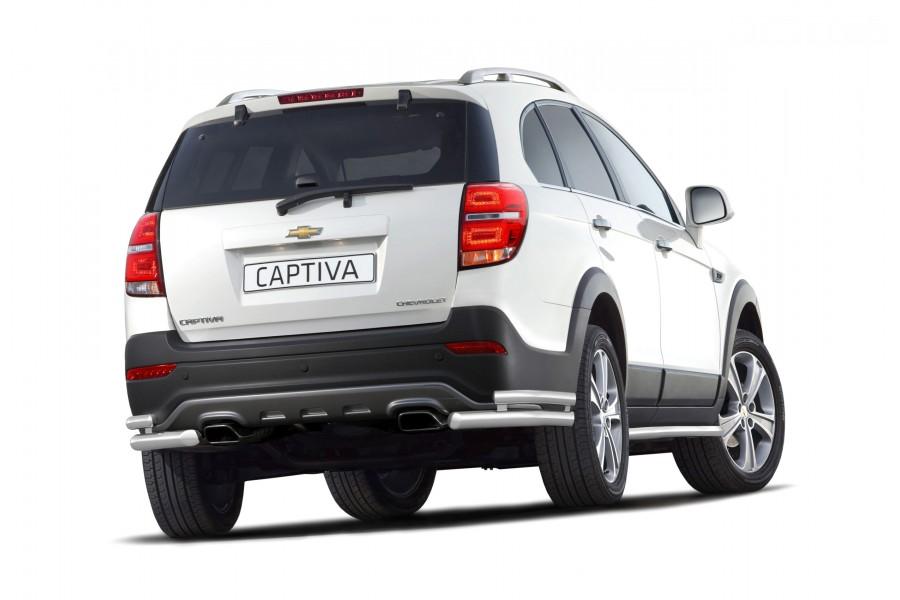Защита заднего бампера двойная угловая Ø63/51мм (НПС) Chevrolet Captiva 2013-