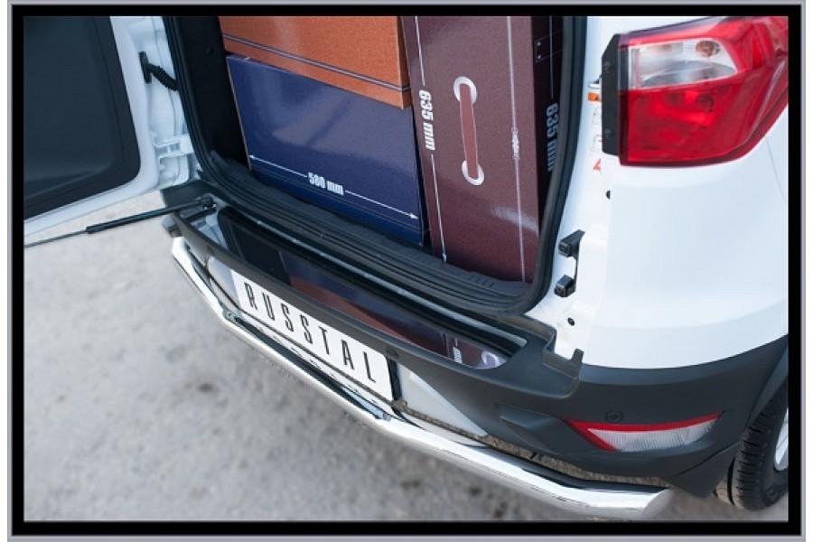 Ford Ecosport 2014- Накладка на задний бампер (лист нерж зеркальный) FEN-002063