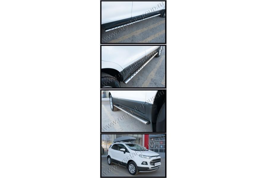 Ford Ecosport 2014- Пороги труба 75х42 овал с проступью