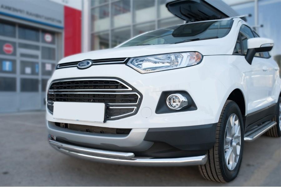 Ford Ecosport 2014- Защита переднего бампера d63 (дуга) d42(дуга)
