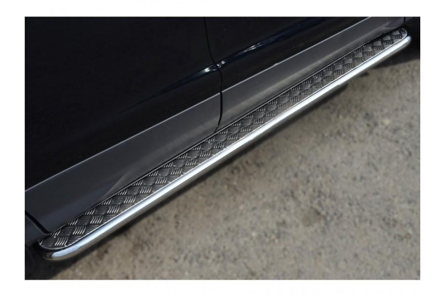 Ford Ranger 2012 Пороги труба d42 с листом (Лист нерж., проф. нерж) (Вариант 3) FRL-0013003