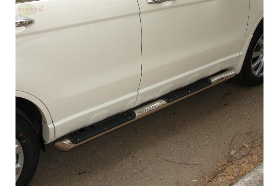 Honda CR-V 2010-2012 пороги труба d76 с накладками (вариант 2) HNT-0002292