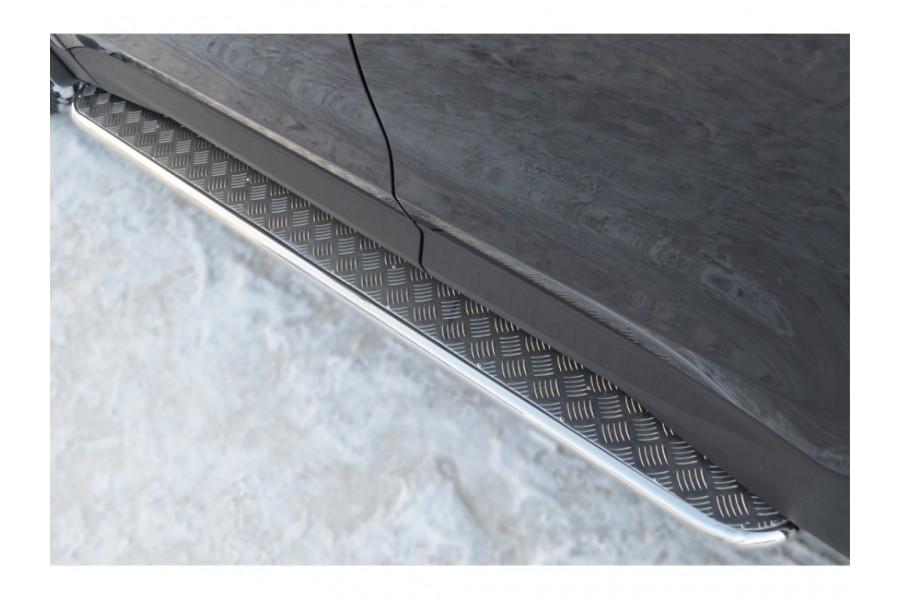 Hyundai Santa Fe 2012-2015 Пороги труба d42 с листом(Лист нерж, проф.нерж) (Вариант 3) HSFL-0012213