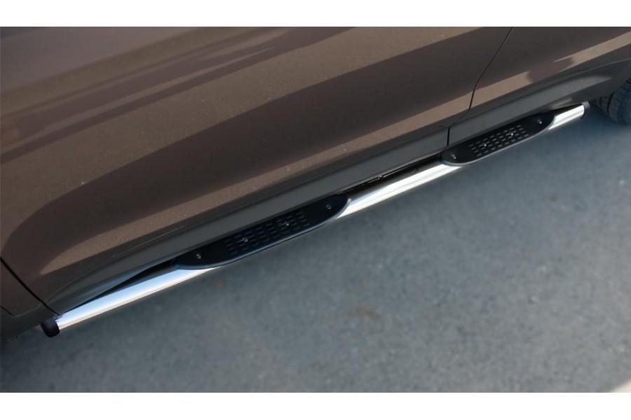 HYUNDAI SANTA FE GRAND 2014 Пороги труба d76 с накладкой (вариант 2) HSFT-0020092