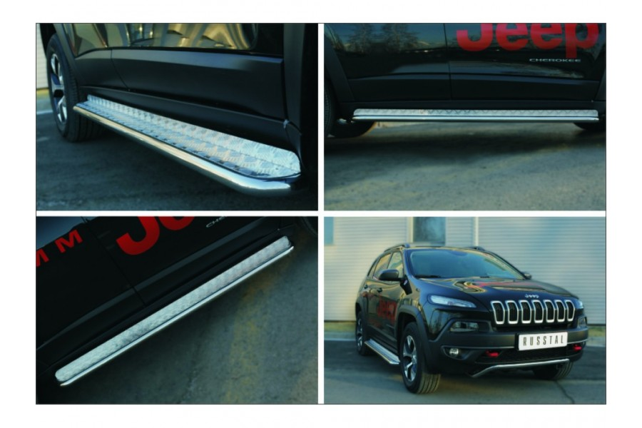 Jeep Cherokee Trailhawk 2014- Пороги труба d42 с листом (Лист нерж, проф.нерж)(Варинт3) JCL-0019993