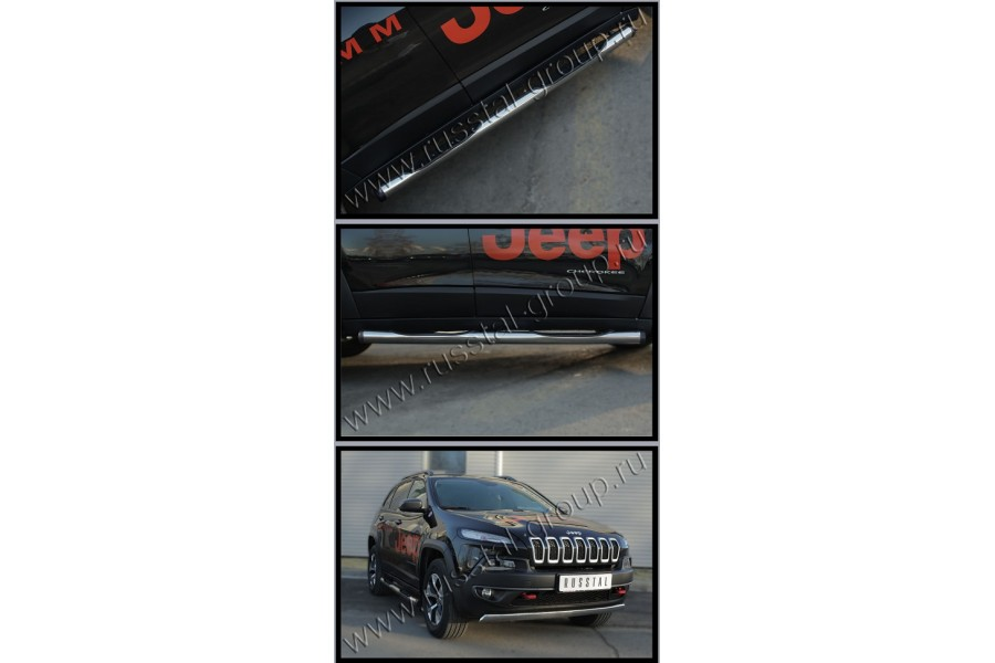 Jeep Cherokee Trailhawk 2014- Пороги труба d76 с накладкой (вариант 2)