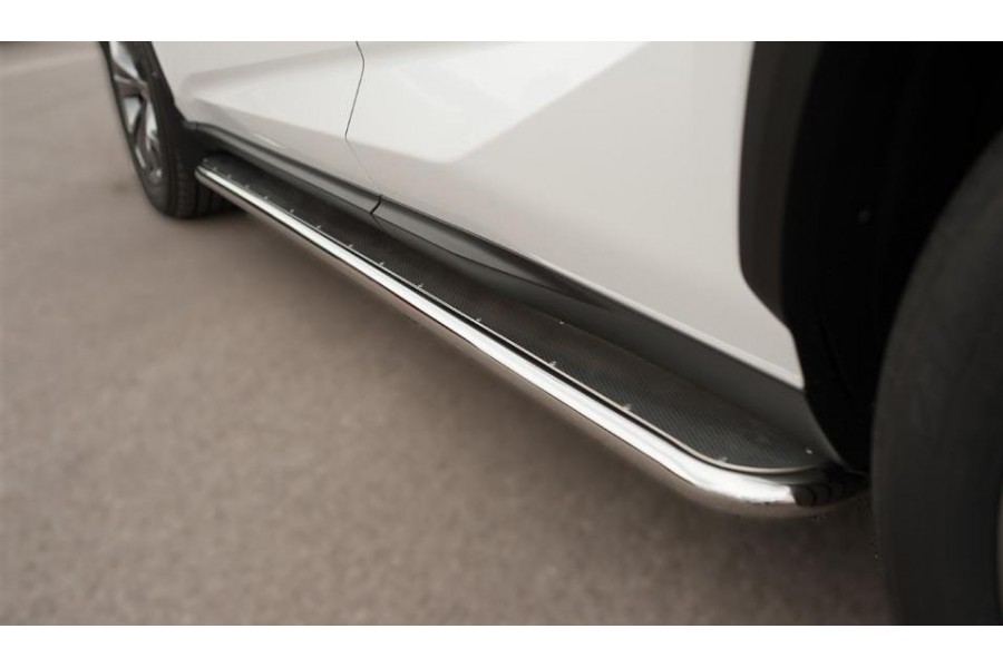 Lexus NX 200t F Sport 2015 Пороги труба d42 с листом (Лист алюм, проф. нерж)(Вариант1) LNXT-0021401