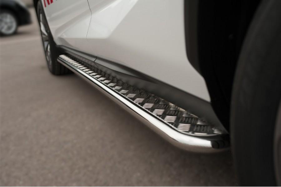 Lexus NX 200t F Sport 2015 Пороги труба d42 с листом (Лист алюм, проф.сталь)(Вариант2) LNXT-0021402