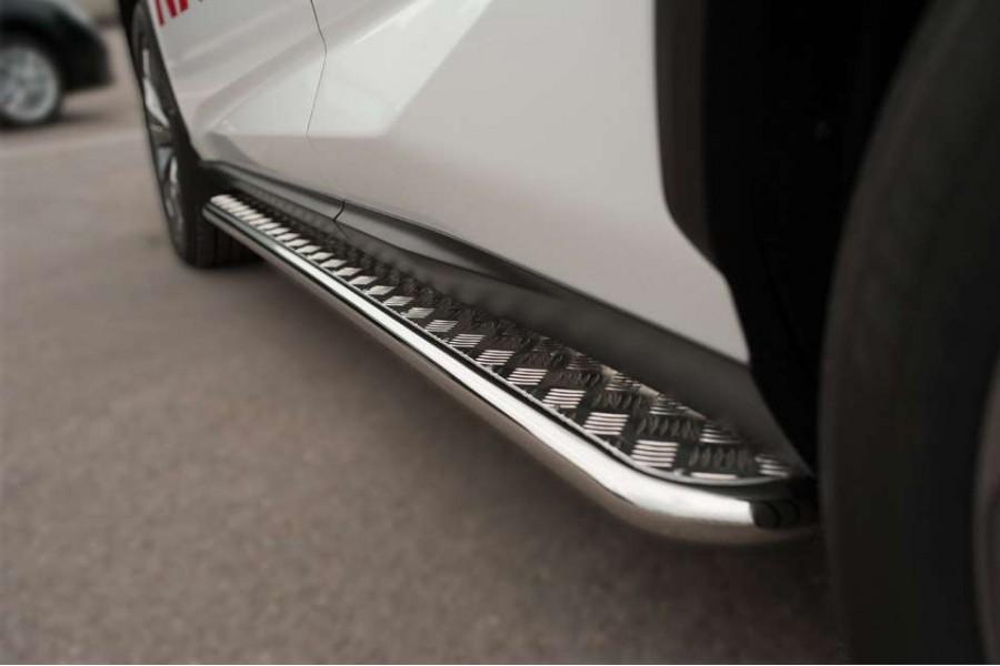 Mazda CX-7 2010-2013 Пороги труба d42 С листом (Лист алюм, проф. нерж) (Вариант1) MC7L-000646