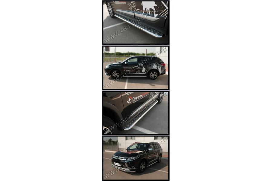 Mitsubishi Outlander 2015- Пороги труба d42 с листом (Лист алюм, проф. нерж) MOL-002111