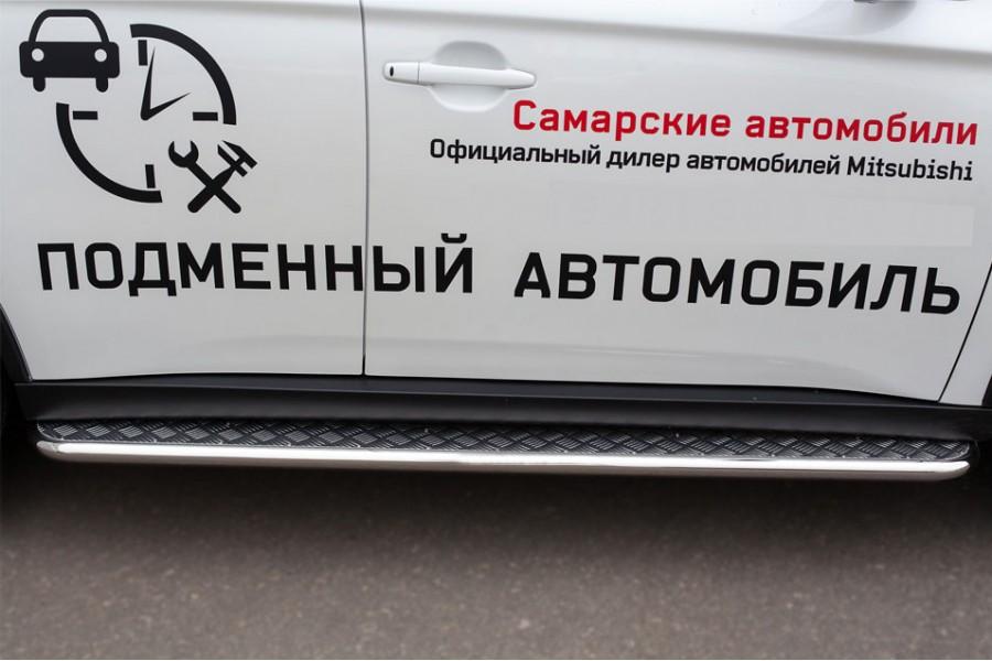 Mitsubishi Outlander 2014 Пороги труба d42 с листом (Лист нерж, проф. нерж) (Вариант3) MORL-0019043