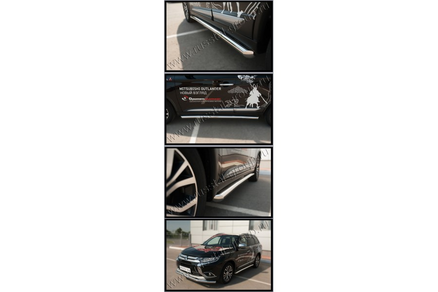 Mitsubishi Outlander 2015- Пороги труба d63 (вариант 1) MOT-0021121