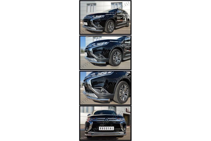 Mitsubishi Outlander 2015- Защита переднего бампера d63 (секции) d42 (дуга) MOZ-002106