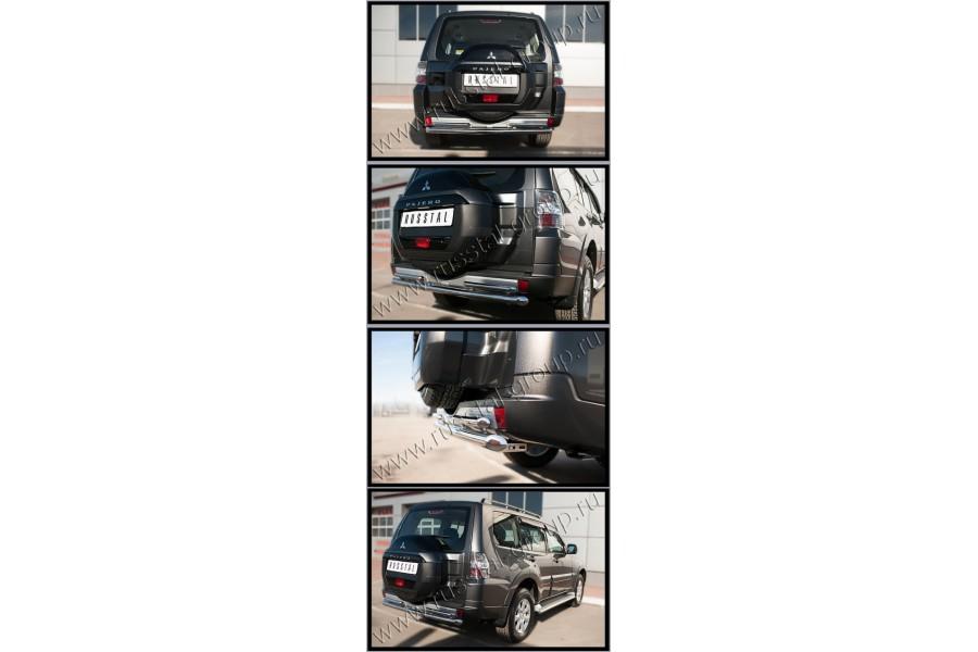 Mitsubishi Pajero 4 2014- Защита заднего бампера d63 (дуга) d42х2 (дуга)